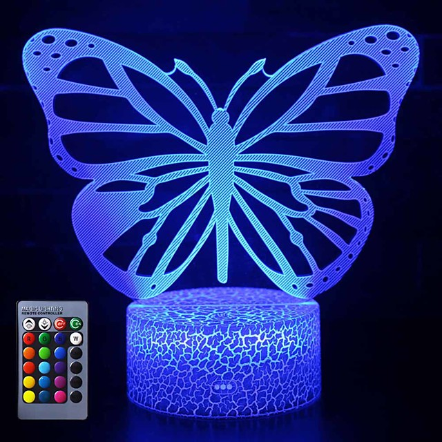 Butterfly 3d Led Night Light Lamps Optical Illusion Lamp 16 Colors Touch Xmas Decoration Lighting Table Desk Visual Lamp For Home Decoration And Kiddie Kids Children Family Holiday Gifs Butterfly 8009639 2021 32 30