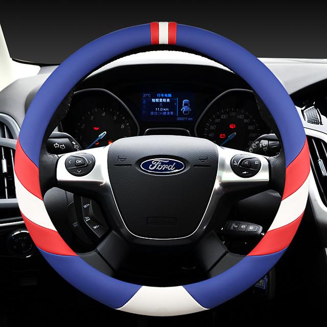 Moda volante do carro cobre couro 38 cm respirável anti derrapante para ford four seasons auto acessórios