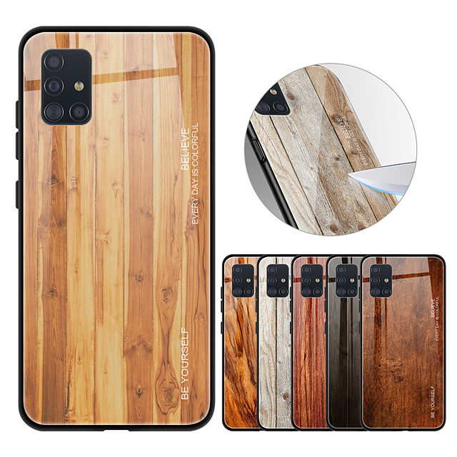 Luxury Wood Grain Phone Case For Samsung Galaxy A51 A71 A81 A91 A80 A90 A70 A50 A30 A20 A10S A20S Soft TPU Edge Slim Tempered Glass Cover Case