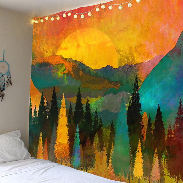 Nordic Stijl Grote Tapestry Hippie Mandala Muur Opknoping Polyester Reizen Camping Sunrise Psychedelische Tafelkleed Slapen Deken