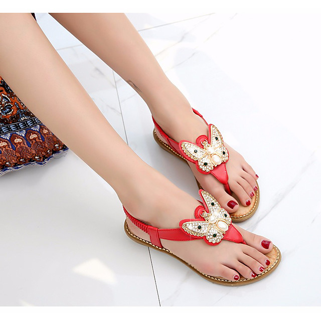 Women's Sandals Flat Sandal Summer Flat Heel Open Toe Daily PU White / Black / Red