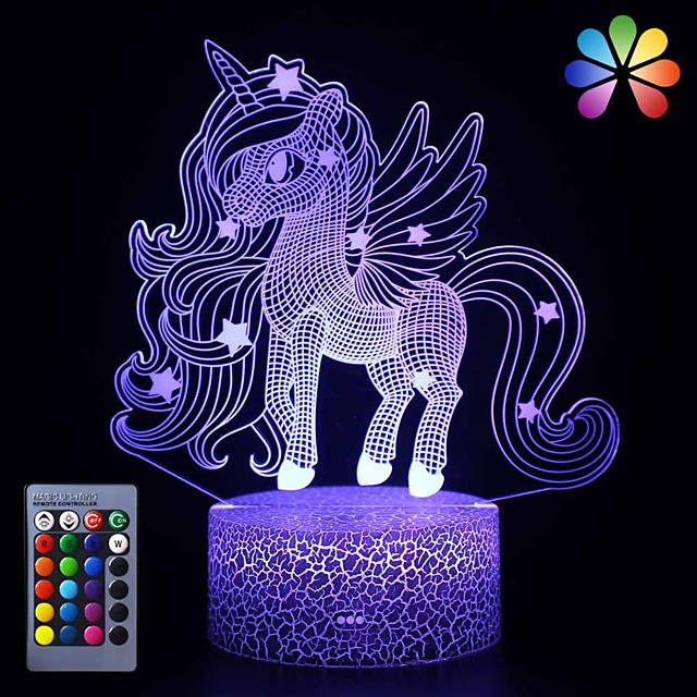 Unicorn 3D Nightlight Night Light For Children Color-Changing Adorable Remote Control Touch Dimmer Gradient Mode Valentine's Day Christmas AA Batteries Powered USB 1pc