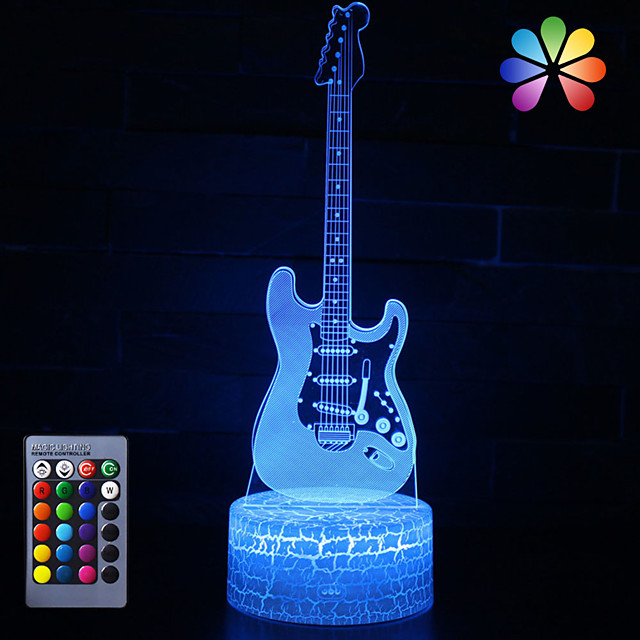 3D Night Lamp Optical Illusion Desk Light Table Lamp Smart Home Night Lights 16 Colors Change (Guitar)