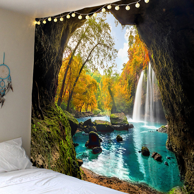 Wall Tapestry Art Decor Blanket Curtain Picnic Tablecloth Hanging Home Bedroom Living Room Dorm Decoration Mooie Cave Landscape Tree Forest Waterfall River