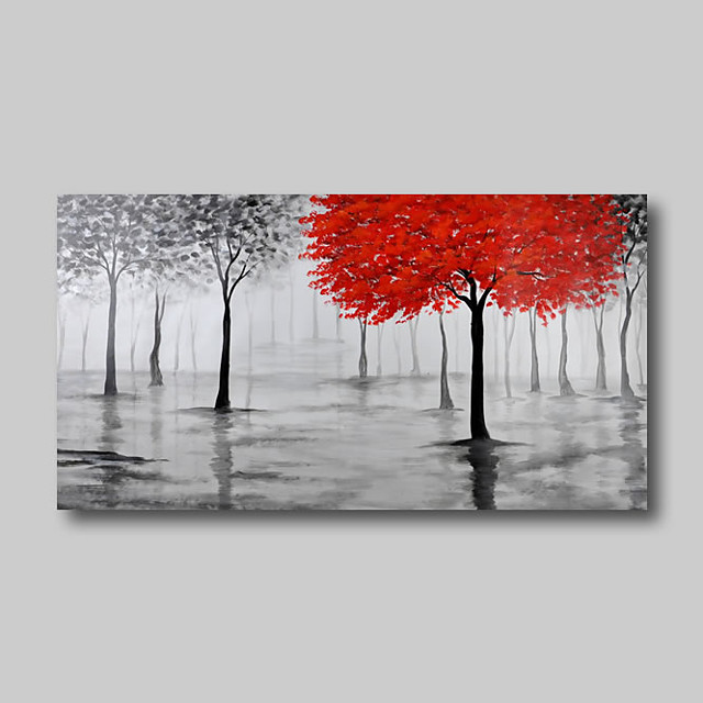 Oil Painting Hand Painted - Abstract Comtemporary Modern Stretched Canvas Trees Red Grey