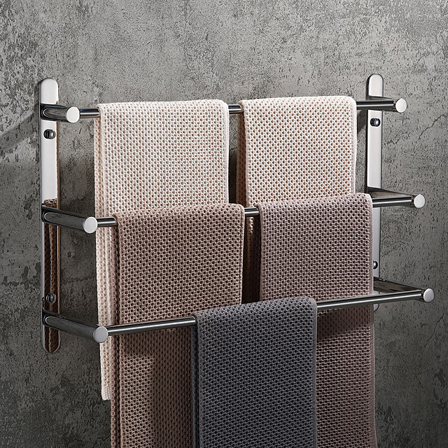 Towel Bar / Bathroom Shelf Creative / Multilayer / New Design Contemporary / Antique Stainless Steel 1pc - Bathroom 3-towel bar Wall Mounted / Polished