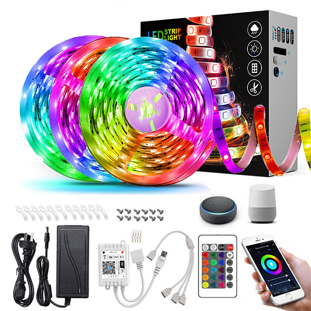 ZDM 15M(3*5M) LED Light Strips RGB Tiktok Lights Intelligent Dimming App Control Waterproof Flexible 5050 SMD 450 LEDs IR 24 Key Controller with Installation Package 12V 6A Adapter Kit
