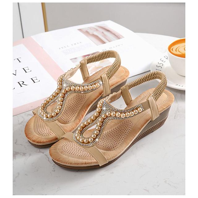 Women's Sandals Wedge Sandals Summer Wedge Heel Open Toe Daily PU Almond / White / Black