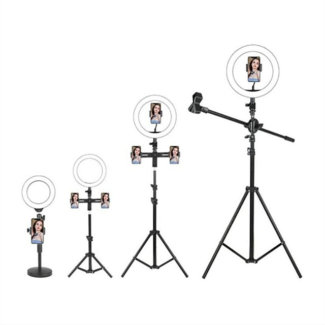LED Selfie Ring Light Fill Light TikTok Lights Youtube Video Dimmable Broadcast Live with Stand Phone Holder Microphone 1pc 2pcs
