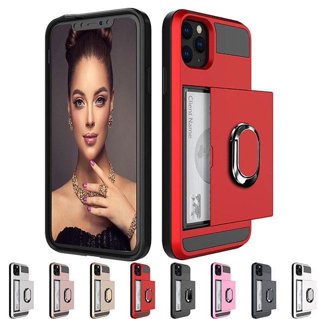 Armor Slide Card Ring Stand Holder Case For Apple iphone 11 Pro Max XR XS Max X SE2 8 Plus 7 Plus 6 Plus Shockproof Card Slot Holder PC Back Cover Soft TPU Frame Protection