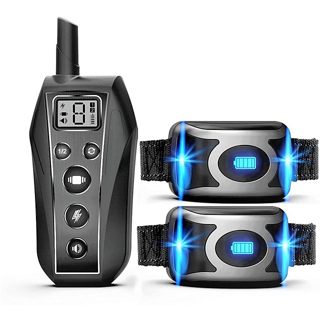 IPX7 Waterproof Rechargeable Remote Pet Dog Training Collar LED 3 Modes Beep Vibration Shock Pet Behavior Training For 2 Dogs