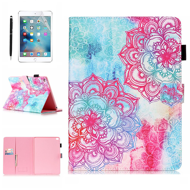 Case &amp 1pcs Stylus pen &amp 1pcs Screen Protect For Apple iPad Air / iPad (2018) / iPad Air 2 / Pro 9.7 with Stand / Flip / Ultra-thin Back Cover Gradient / Flower PU Leather