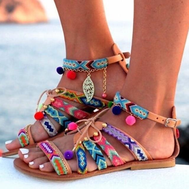 Women's Sandals Boho / Beach Flat Sandals Summer Flat Heel Open Toe Boho Daily Beach PU Brown