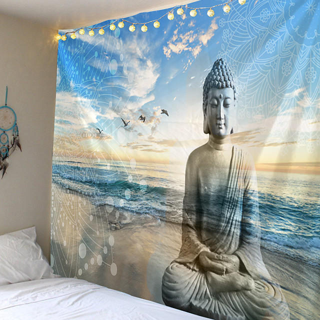 Buddha Statue Tapestry Twin Hippie Wall Hanging Bedspread Throw Cover Bohemian Beach Mat Table Cloths Home Art Decor Blanket