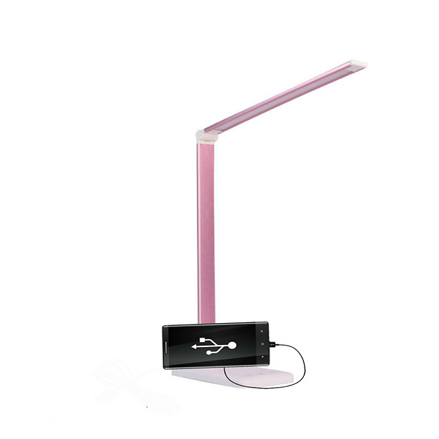 Deak Lamp with USB Port for mobile phone  Eye Protection Modern Contemporary DC Powered For Study Room Home Office DC 5V Rose Pink