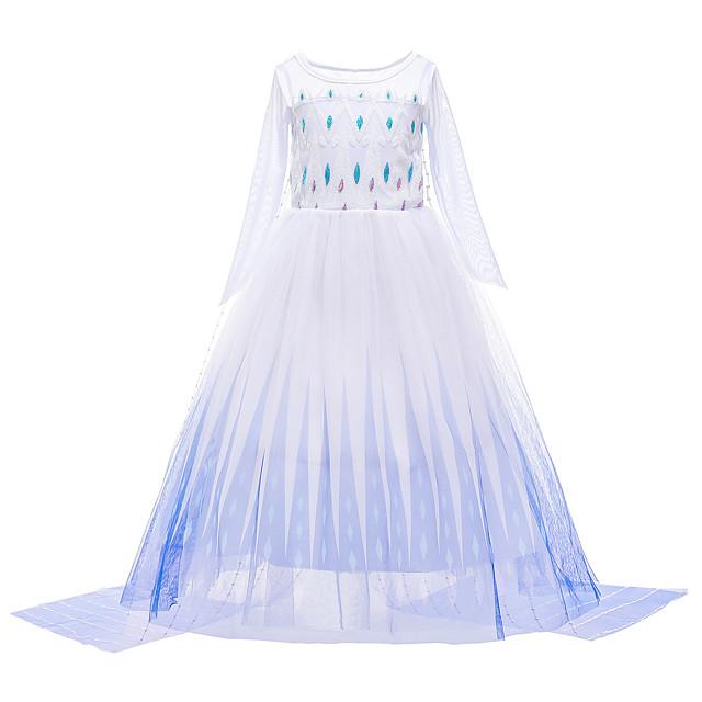 Frozen Princess Dress Girls' Movie Cosplay Halloween Christmas White Dress Christmas Halloween