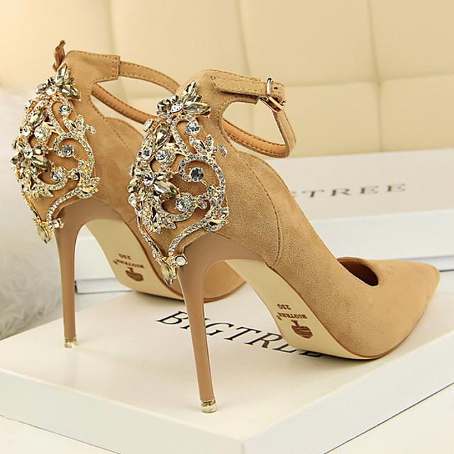 Women's Wedding Shoes Summer Stiletto Heel Pointed Toe Classic Wedding Rhinestone Suede Black / Red / Pink