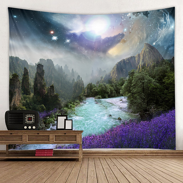 Magic Starry Sky Digital Printed Tapestry Decor Wall Art Tablecloths Bedspread Picnic Blanket Beach Throw Tapestries Colorful Bedroom Hall Dorm Living Room Hanging