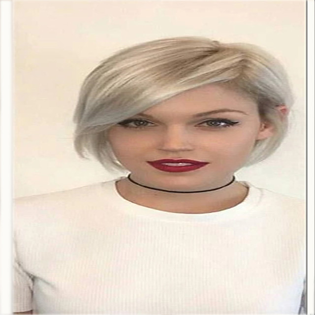 Synthetic Wig kinky Straight With Bangs Wig Short Light golden Synthetic Hair 12 inch Women's Simple Fashionable Design Women Blonde