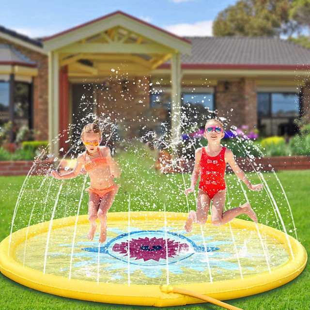 Splash Pad Sprinkler for Kids Inflatable Pool Float Inflatable Pool Outdoor Portable PVC Shark Swimming Pool 170cm*170cm Kids Teenager
