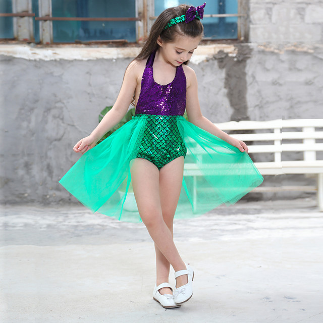 The Little Mermaid Princess Dress Flower Girl Dress Girls' Movie Cosplay A-Line Slip Red / Green / Blue Dress Headwear Children's Day Masquerade Satin / Tulle