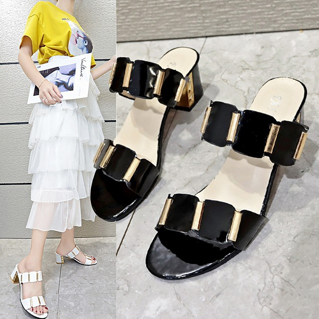 Women's Sandals Slippers & Flip-Flops Cuban Heel Open Toe Daily PU Summer White / Black