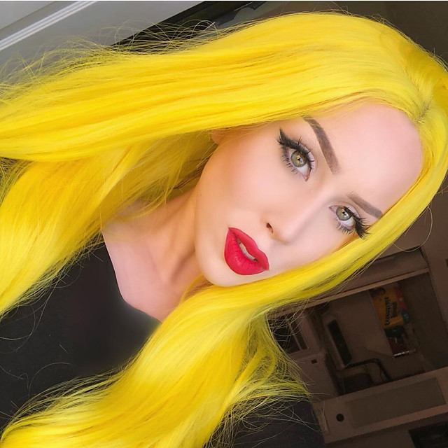 Synthetic Lace Front Wig Straight Gaga Middle Part Lace Front Wig Long Yellow Synthetic Hair 22-26 inch Women's Heat Resistant Women Hot Sale Yellow / Glueless