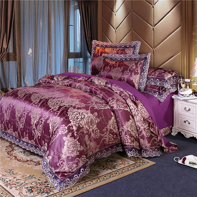 Spring and summer European Satin Jacquard four-piece AB face summer cool satin lace quilt cover