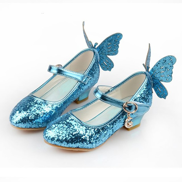 Cinderella Princess Elsa Shoes Girls' Movie Cosplay Sequins White / Blue / Pink Shoes Children's Day Synthetic Leather