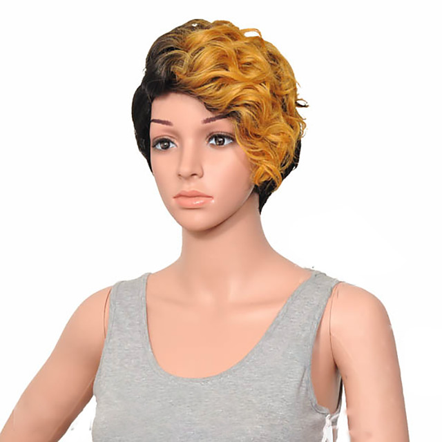 Synthetic Wig Curly Hathaway Halloween Christmas Side Part Wig Short Brown Blonde Pink Gold Pink Black / Blonde Synthetic Hair 12 inch Women's Women Synthetic Sexy Lady Mixed Color hairjoy