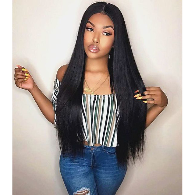 Remy Human Hair Lace Front Wig Free Part style Indian Hair Yaki Straight Black Wig 130% Density with Baby Hair Odor Free Lace Best Quality with Clip Women's Long Human Hair Lace Wig Premierwigs
