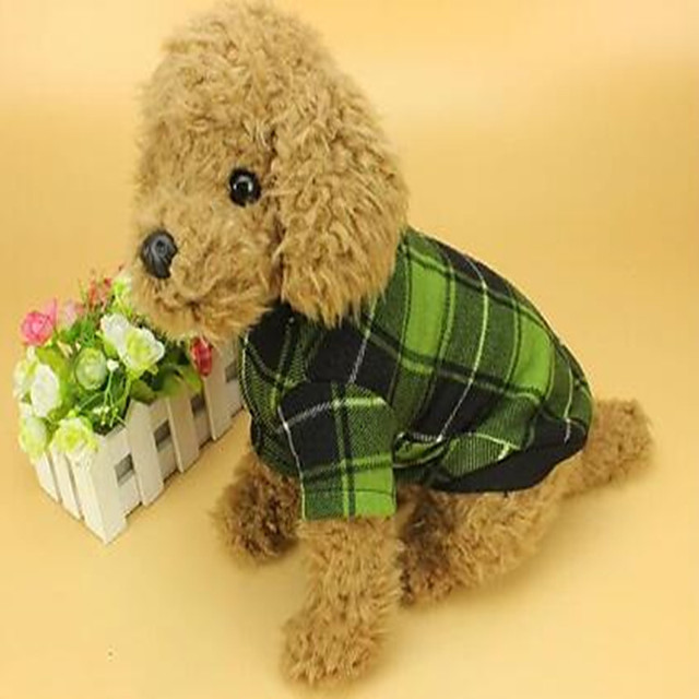 Dog Cat Jumpsuit Plaid / Check British Dog Clothes Red Green Costume Polyster S M L