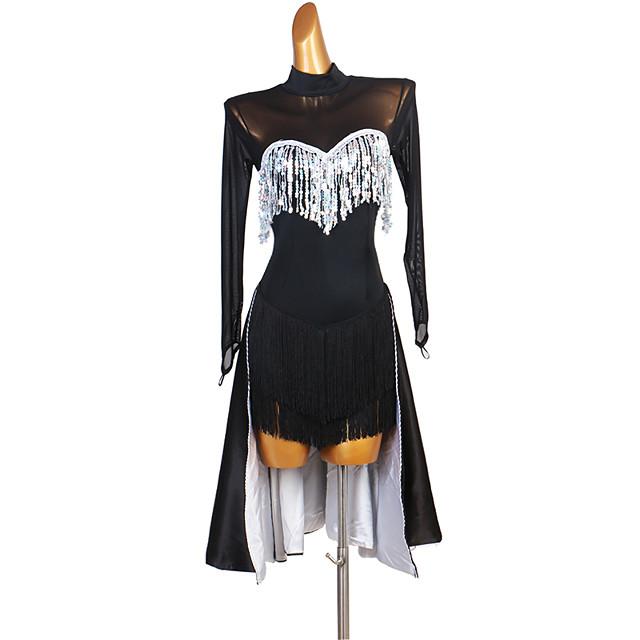 Latin Dance Dress Tassel Paillette Women's Performance Long Sleeve Spandex