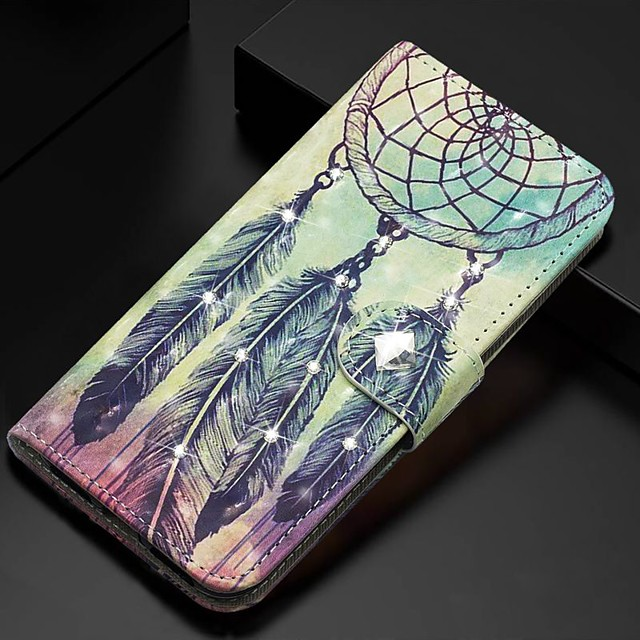 Case For Samsung Galaxy A51/ Galaxy A20e / Galaxy Note 10 Plus Wallet / Card Holder / Rhinestone Full Body Cases Feathers PU Leather For Galaxy A71/A10S/A20S/M30S/A2 Core/A10E