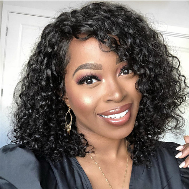 Synthetic Wig Curly Asymmetrical Wig Short Natural Black Synthetic Hair 12 inch Women's Simple Fashionable Design Women Black