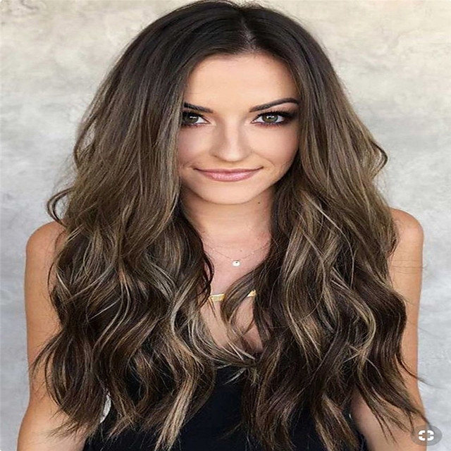 Synthetic Wig Curly Middle Part Wig Long Light Brown Synthetic Hair 18 inch Women's Women Easy dressing Highlighted / Balayage Hair Light Brown