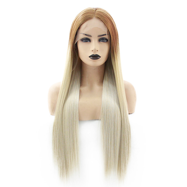 Synthetic Lace Front Wig Straight Gaga Middle Part Lace Front Wig Long Ombre Blonde Synthetic Hair 22-26 inch Women's Heat Resistant Women Hot Sale Blonde Green / Glueless
