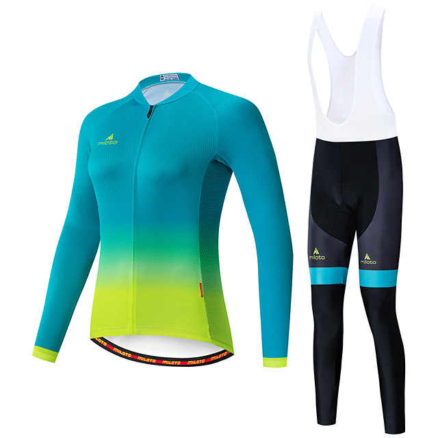 Miloto Women's Long Sleeve Cycling Jersey with Bib Tights White Black Bike Breathable Sports Patterned Mountain Bike MTB Road Bike Cycling Clothing Apparel / Stretchy