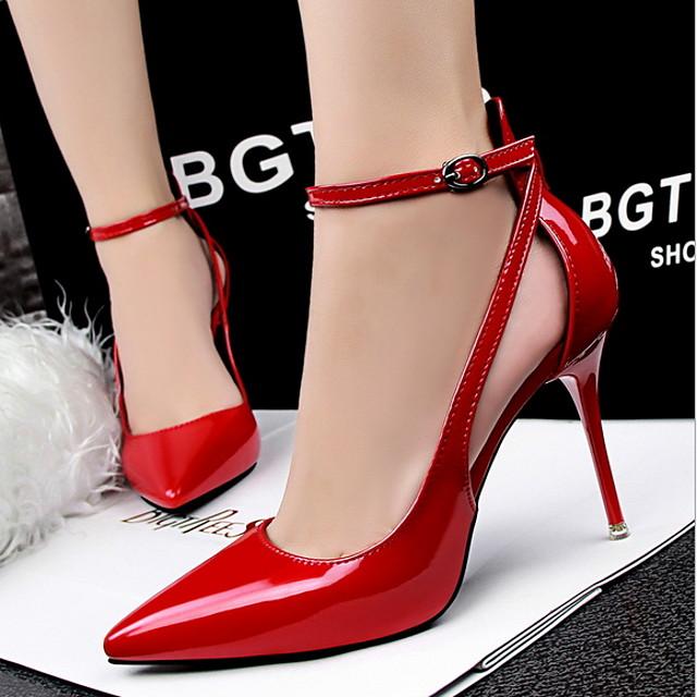 Women's Heels Spring & Summer Stiletto Heel Pointed Toe Daily PU Dark Grey / White / Black