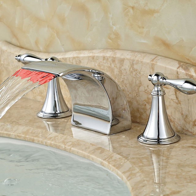 Bathroom Sink Faucet - LED / Widespread / Waterfall Chrome Deck Mounted Two Handles Three HolesBath Taps