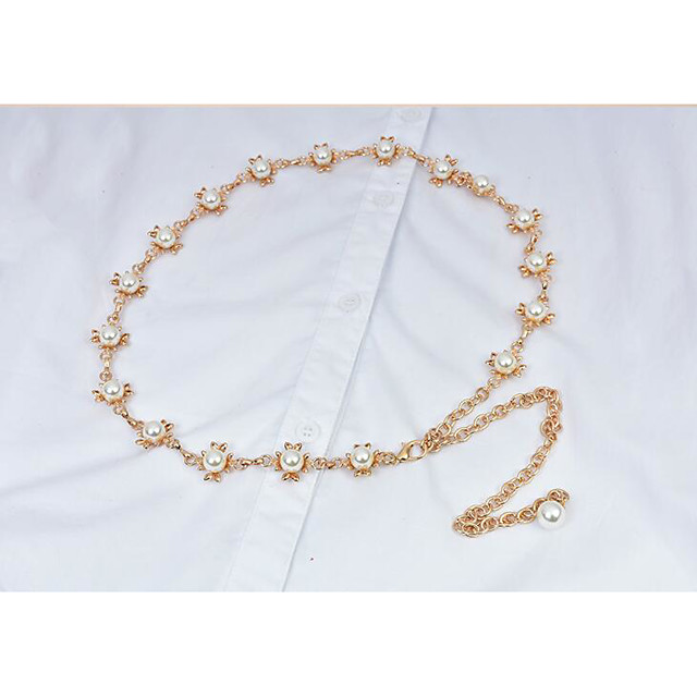 Metalic Party / Evening / Dailywear Sash With Imitation Pearl Women's Sashes