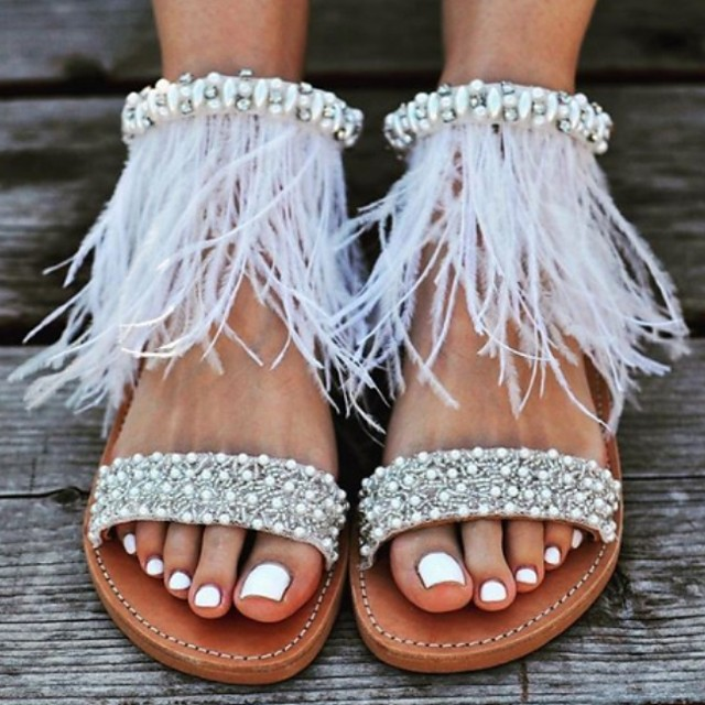 Women's Sandals / Flats Boho / Beach Flat Sandals Summer Flat Heel Open Toe Beach Boho Daily Feather PU Brown