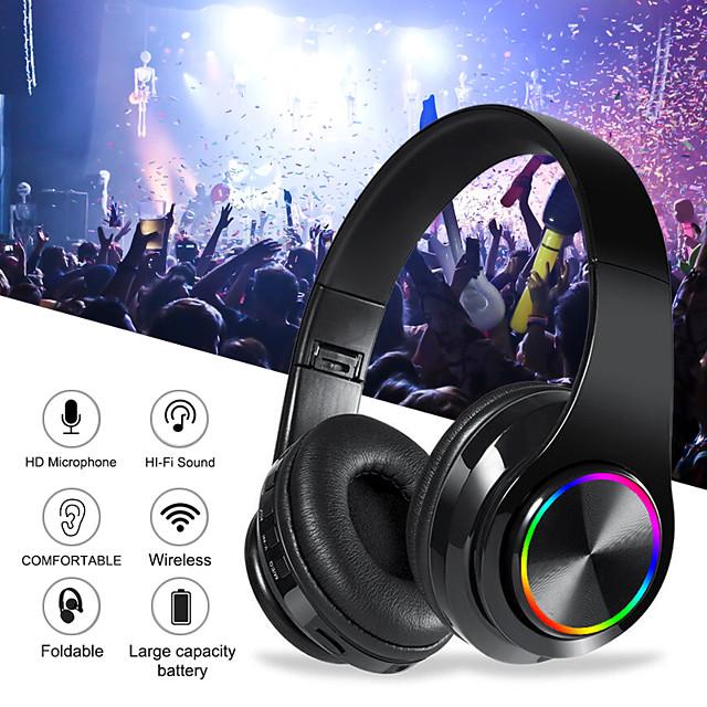 B39 Colorful Wireless Bluetooth Headset LED Light Head-mounted HiFi Bass Stereo Sound Effect Bluetooth 5.0 Headphone