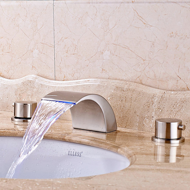 Bathroom Sink Faucet - LED / Widespread / Waterfall Nickel Brushed Deck Mounted Two Handles Three HolesBath Taps