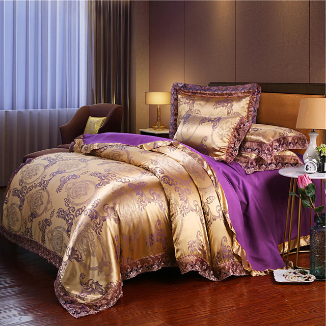 European-style Jacquard four-piece set with lace lace double bed linen cover 1.8 m 2.0 m 4-piece bed linen cover