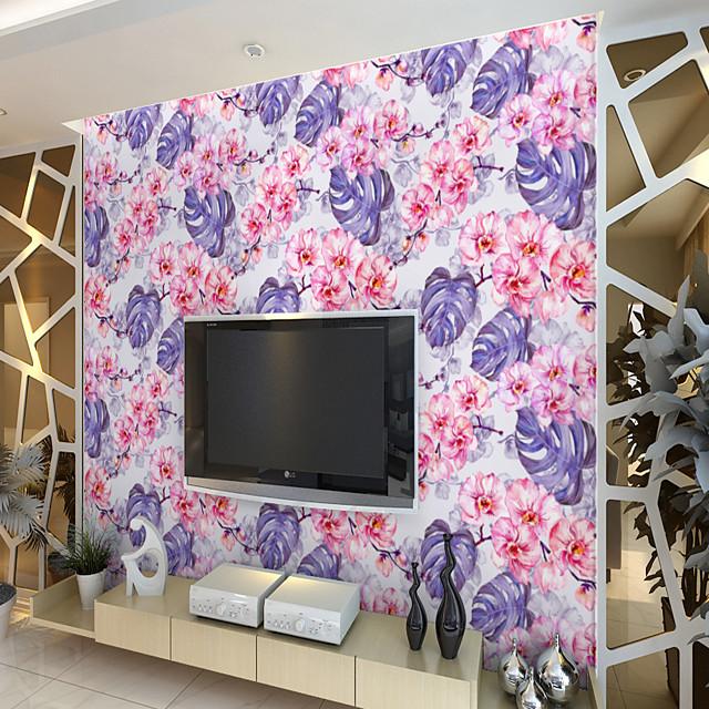 tilpasset selvklebende veggmaleri tapet lilla skilpaddeblad blomster egnet for soverommet stue kafé restaurant hotell veggdekorasjon kunstvegg rom wallcovering art deco