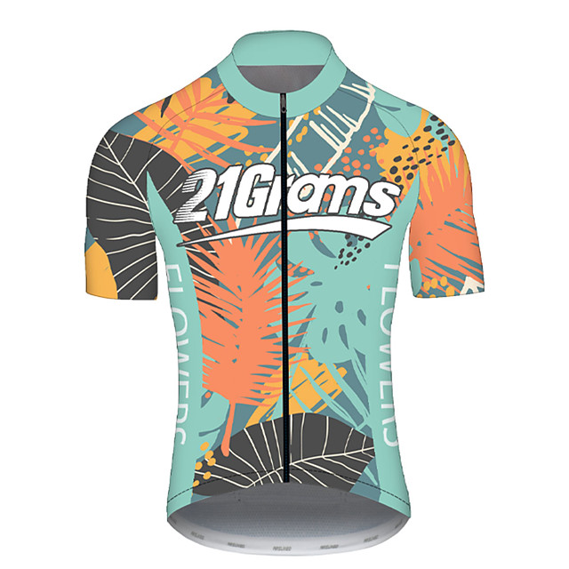 21Grams Men's Short Sleeve Cycling Jersey Spandex Polyester Green Bike Jersey Top Mountain Bike MTB Road Bike Cycling UV Resistant Breathable Quick Dry Sports Clothing Apparel / Stretchy / Race Fit