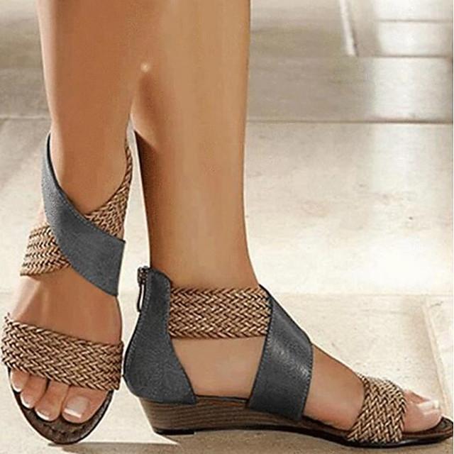 Women's Sandals Wedge Sandals Summer Wedge Heel Peep Toe Daily PU Black / Burgundy / Blue