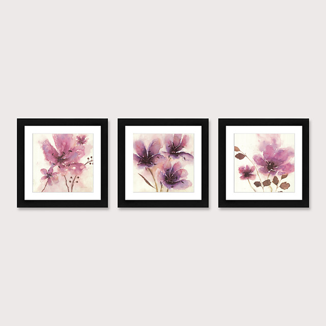 Framed Art Print Framed Set 3 American Style Pastoral Decorative Painting French Style Dining room Fresco Porch Bedroom Bedside Magnolia Flowers Hanging Pictures