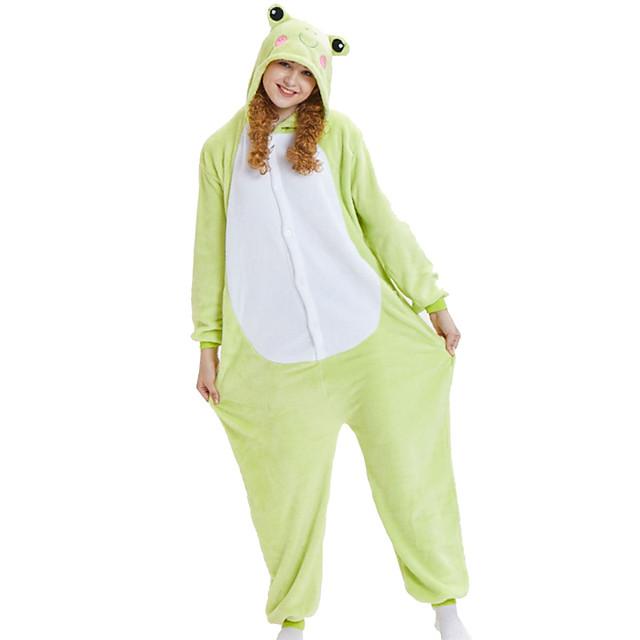 Adults' Kigurumi Pajamas Frog Animal Onesie Pajamas Coral fleece Green Cosplay For Men and Women Animal Sleepwear Cartoon Festival / Holiday Costumes / Leotard / Onesie